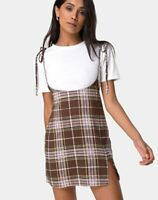 MOTEL ROCKS Yelca Mini Dress in Tartan Brown Large L  (mr23)
