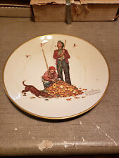 """New listing 1974 Norman Rockwell Limited Edition Gorham Fall - Pensive pals Plate, 10 3/4"""""""