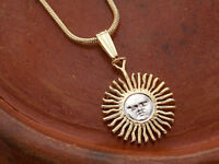 "Sun Pendant and Necklace  Argentina 5 Peso Hand cut Cut Coin 5/8"" Dia. , ( # 2 )"