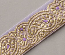 Jacquard, Organza Trim with Paisleys. Sparkling Gold On Lavende Sewing Craft DIY
