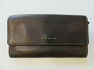 Fossil Checkbook Clutch Wallet Brown Leather