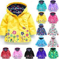 Baby Girls Kids Hooded Raincoat Coat Jackets Rain Wear Windproof Outerwears 2-8