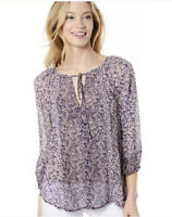 Joie 3/4 Sleeve Front Keyhole Printed Silk Blouse Size Small