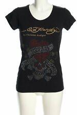 ED HARDY T-Shirt schwarz-goldfarben Schriftzug gedruckt Casual-Look Damen