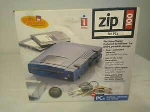 New Iomega Zip 100 External Drive 100MB Parallel Port for PC's Portable
