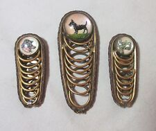 3 antique handmade brass leather hand painted glass dog hair brooch clip pin