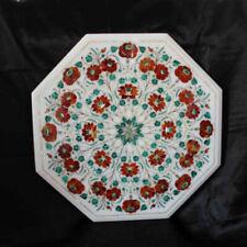 "18"" Marble table top floral semi precious stones Pietra Dura inlay home decor"