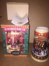 New Box 1994 Budweiser Beer Stein Mug Hometown Holiday Series Ceramic Clydesdale