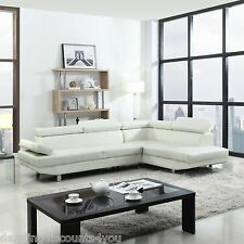 2 Piece Contemporary Modern Faux Leather White Sectional Sofa