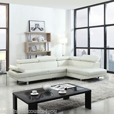 Modern Contemporary White Faux Leather Sectional Sofa Living Room Set : faux leather sectionals - Sectionals, Sofas & Couches