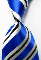 New Classic Striped Blue Black White JACQUARD WOVEN 100% Silk Men's Tie Necktie