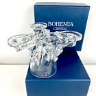 Bohemia Crystal Clear Glass Candle Holder Candelabra Lead Crystal in Box
