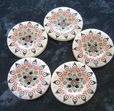 5 grandi ROSSO & NERO IN LEGNO PEACOCK FLOWER GUFO OCCHI pulsanti 25mm