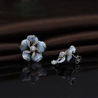 Pretty Stud Earrings for Women 925 Silver White Sapphire Earrings A Pair/set