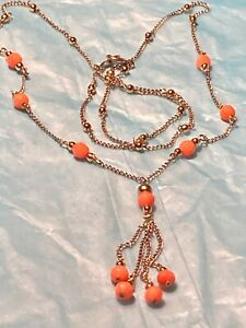 """14K TWO TONE GOLD NECKLACE WITH ANGEL SKIN CORAL. 18.25"""""""