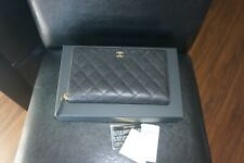 NEW Chanel Black Quilted Caviar leather Large Zip Around Wallet Clutch Organizer