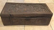 ANTIQUE CHINESE DRAGON Handle Landscape People WOODCARVED TRUNK/ CHEST Box 21""