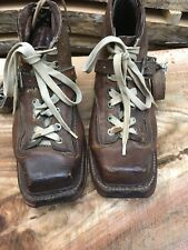 Rare Vintage 1920's Original Chippewa Womens 7-7.5 Dark Brown Leather Ski Boots