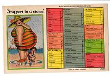 """Vintage Comic Postcard """"Any Port in Storm"""" fat lady butt supplies nice shelter"""