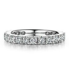Solid 10K White Gold 1.2ct Moissanite Halo Engagement Eternal Band Ring Size 6#