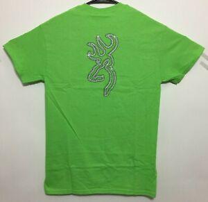 Browning Buckmark T-Shirt Bling Logo Pattern Design Tee Color Lime Green