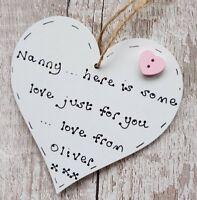 Gifts for Nanny Nanna Nan Grandma Christmas gift personalised heart handmade