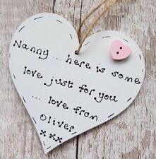 Mother's Day Gifts for Nanny Nan Nanna Nana Mum Mummy Personalised wooden heart