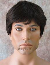 Mens Wig Medium Dark Brown Short Shorter Classic Style Wigs US Seller