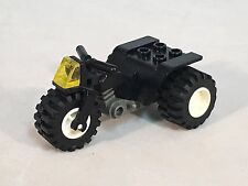 LEGO Motorcycle Black Tricycle Dark Gray Chassis Translucent Yellow Light