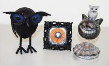 Lot/3 Vintage Owl Bird Halloween Glitter Decorations Black Cat Bobblehead