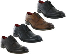 Base London Brogue Shoes Leather Coniston 5 Eye Mens Formal Lined Lace Ups