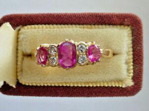 Antique 18K No Heat Three Stone Pink Sapphire Ruby Diamond Ring EGL Certified