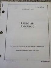 Technical Order Spare Parts List Radio Set AN/ARC-3 Aircraft Manuals Air Force