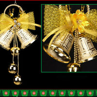 Christmas Bowknot Double Bell Xmas Tree Ornament Pendant Door Hanging Decora DB