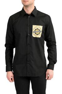 Versace Men's Black Barocco Print Long Sleeve Dress Shirt sz 15.75 16