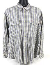 TOMMY HILFIGER Shirt Long Sleeve Flap Pocket Brown Blue Plaid Mens Size XL
