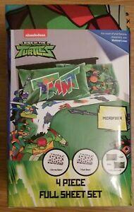 NEW TMNT Rise of Teenage Ninja Turtle Full 4 Pc Sheet Set Microfiber Kid Bedding
