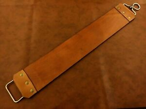 40x7 cm Handmade Straight Razor-Sharpening Tool- Double Side Leather Strop-P6