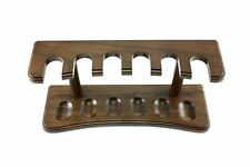 Straight Walnut Brown Finish Solid Wood 6 Tobacco Pipe Stand Holder Wooden Rack