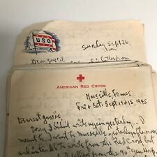 1945 Gi Ww Ii Letters From France On American Red Cross And Uso Letterhead Stati
