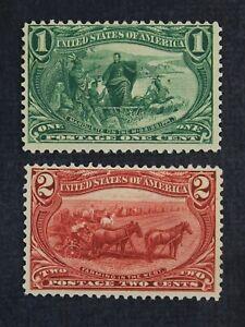 CKStamps: US Stamps Collection Scott#285 286 1c 2c Mint H OG #285 Tiny Thin