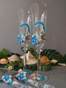 Personalized Wedding Toast Swarovski Glass Bling Beach Ocean Turquoise Romantic