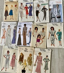 Vintage VOGUE Paper PATTERNS, Most 1980s Superb drafting and designs Small sizes