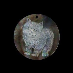 Carved Cat MOP Pearl BEAD GL007063