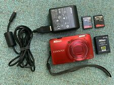 Nikon COOLPIX S6300 16.0MP Digital Camera RED + 2 memory cards + AC Adapter
