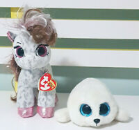 Lot of 2x TY Beanie Boos Cinnamon the Pony & Icy the Seal 16cm Tall / 19cm Long!