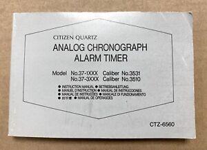 Citizen alarm Chronograph Cal. 3531 3510 CTZ-6560 manual instruction