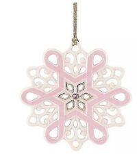 Lenox Gift of Knowledge Breast Cancer Awareness Snowflake Ornament Nib Pink