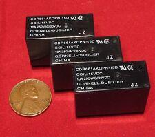 3 pc Cornell Dubilier 15V DC Coil Relay, SPST 10A, 250VAC, 30VDC CDR661AKQPN-15D