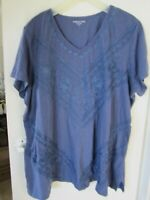$Reduced$ NEW*Coldwater Creek Knit Top Blouse Embroidered Denim Blue Womens 2X